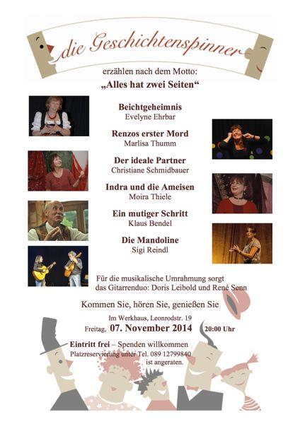 ...da sind sie wieder - die Geschichtenspinner am 7. November 2014 in München!