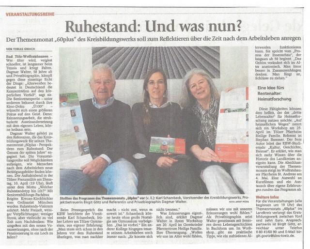 Kurze Vorankündigung für den APRIL: Zweimal Biografieseminar mit Dagmar Wagner in Geretsried und Murnau